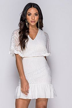 delicate mini white lace φόρεμα Casey