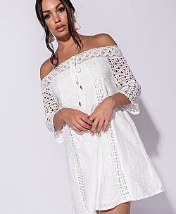 blogger off shoulder mini φόρεμα broderie Selena
