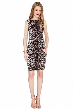 all time classic cotton midi animal print φόρεμα