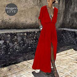 blogger αέρινο crepe maxi φόρεμα Petra red 69c512a1cfa