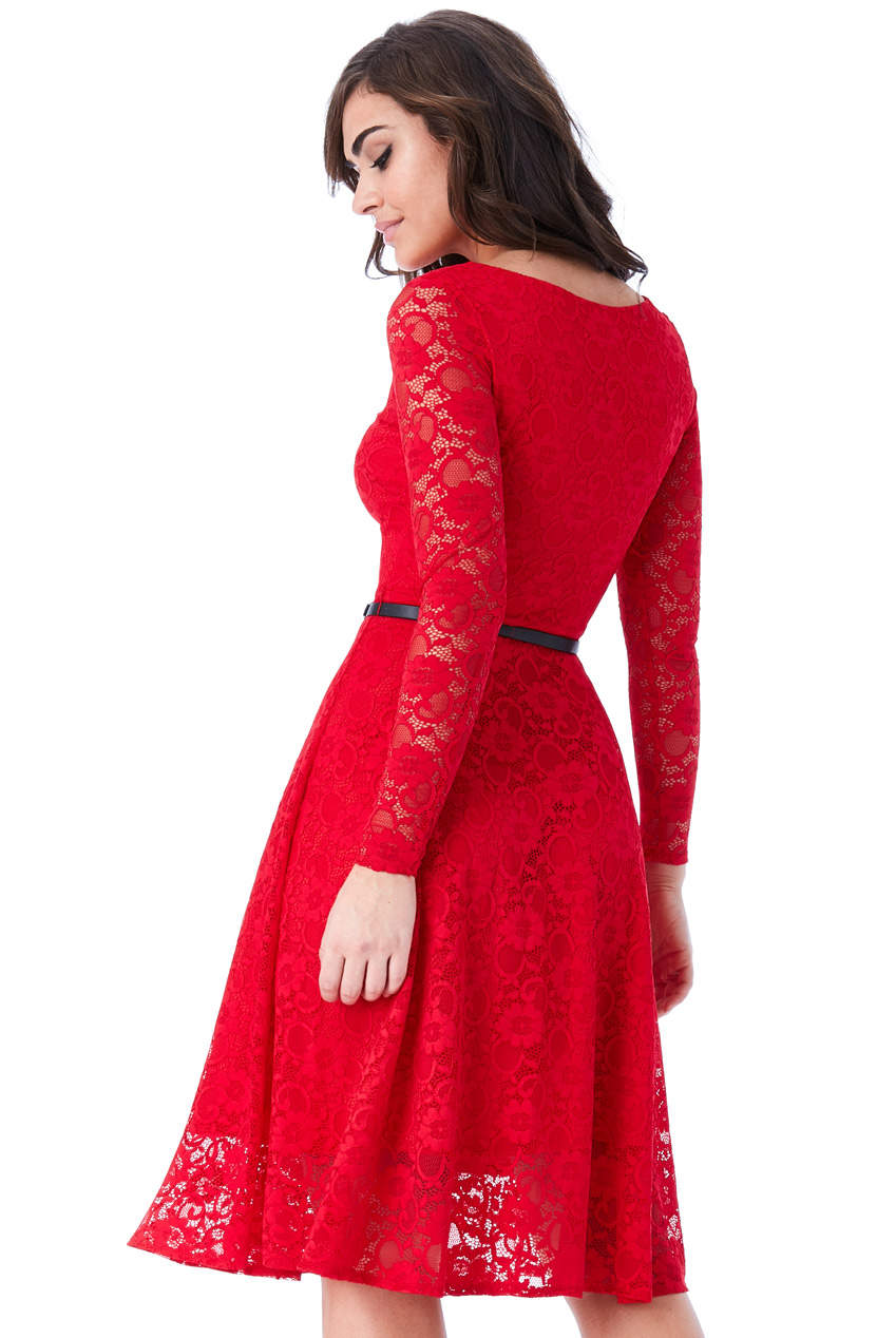 b3903983672f timeless chic midi φόρεμα δαντέλα κλος σε fire red