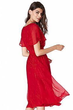 αέρινο φόρεμα chiffon lurex stripe Patricia red