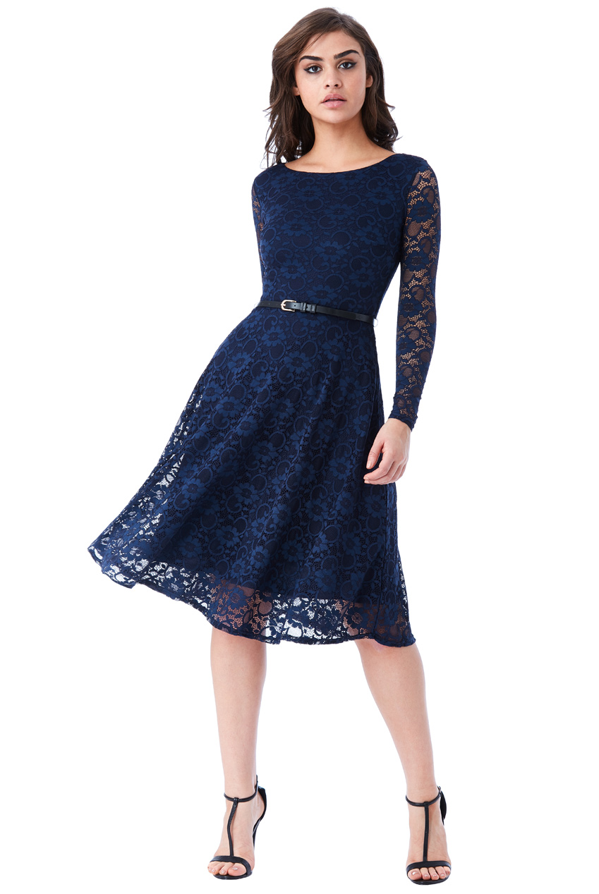 a4dc16d5941 timeless chic midi φόρεμα δαντέλα κλος σε μπλε navy