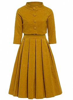 the ultimate Jackie O style twinset σε κίτρινο mustard