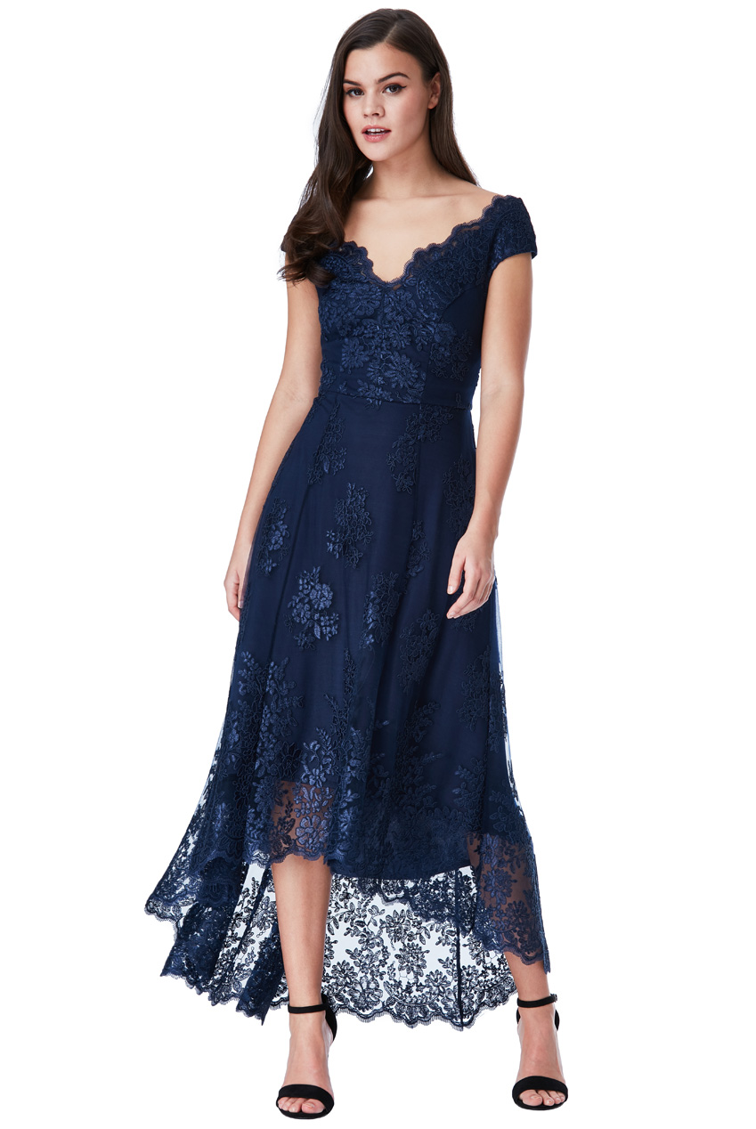 ff7a04217b56 luxe delicate φόρεμα δαντέλα high low Victoria navy