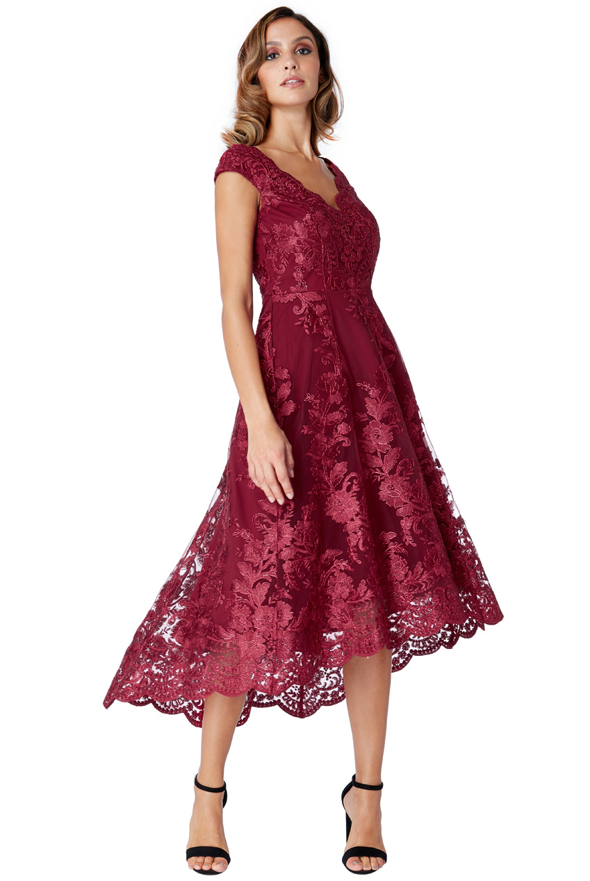 10fe52791e3d luxe delicate φόρεμα δαντέλα high low Victoria wine