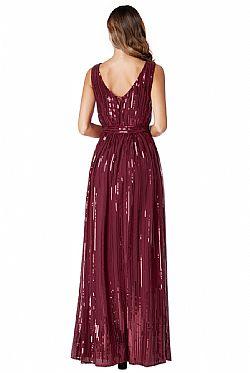 star quality 30s wrap maxi φόρεμα paillettes σε μπορντώ wine ... 29b922209b4