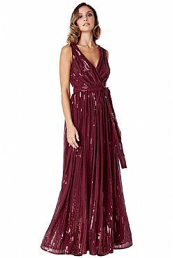 ... star quality 30s wrap maxi φόρεμα paillettes σε μπορντώ wine 7302e5b6322