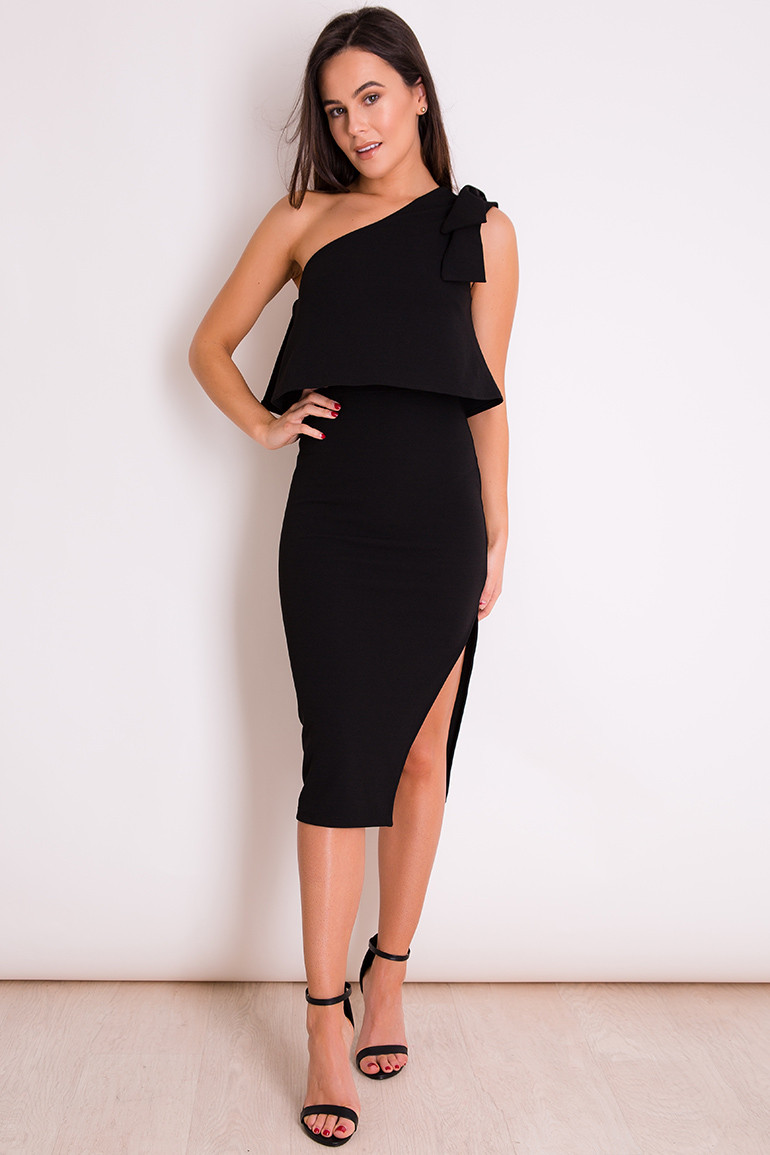 sexy twist one shoulder φόρεμα lbd Tiana