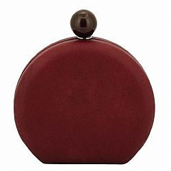 wine μπορντώ leatherette round clutch