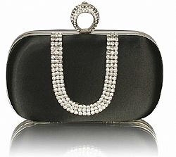 01e7ee68e0 ... vintage σατέν clutch Grace Kelly σε μαύρο