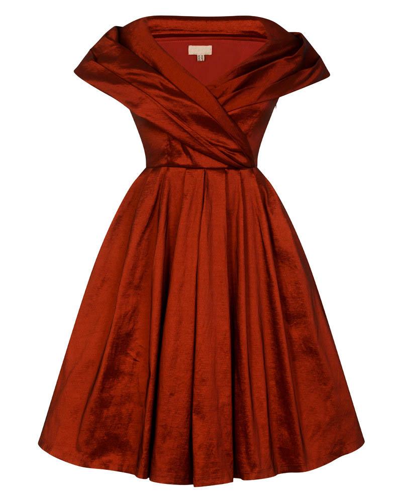 vintage φόρεμα chic taffeta 50s κόκκινο rust 1e23bf70662