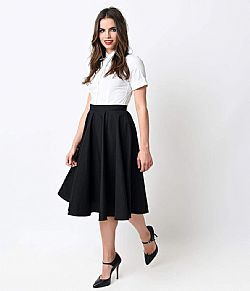 blogger essential vintage full skirt φούστα σε μαύρο