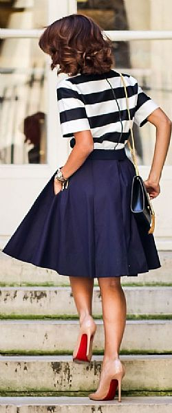 blogger essential vintage full skirt φούστα σε μπλε navy