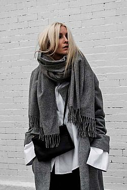 blogger oversized wool εσάρπα grey melange