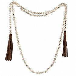 boho chic precious real pearls & suede brown