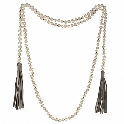 boho chic precious real pearls & suede stone