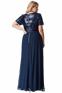 plus size αέρινο paillette   chiffon maxi φόρεμα σε μπλε ... 0cfb7adc1bd