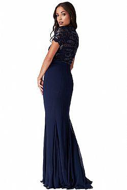 επίσημο glam φόρεμα mermaid Ines σε μπλε navy ... 850fb798638