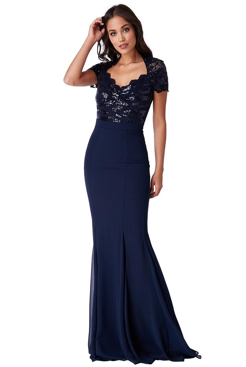 b8e8104b5acc επίσημο glam φόρεμα mermaid Ines σε μπλε navy