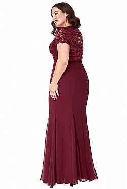 plus size επίσημο glam φόρεμα mermaid Ines σε μπορντώ ... aa95fd1df5e
