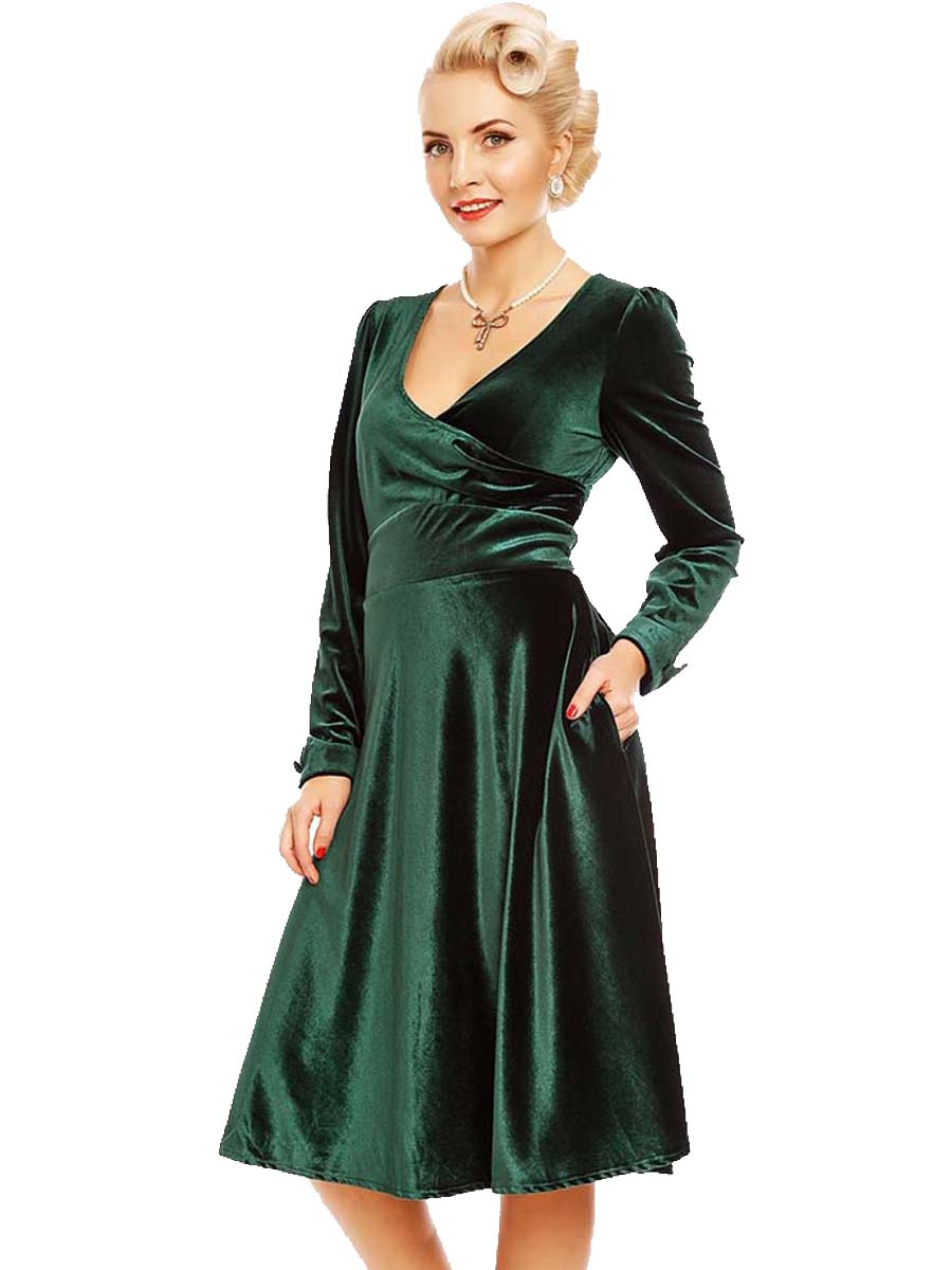953633002d15 40s vintage velvet wrap φόρεμα Sylvia σε emerald πράσινο