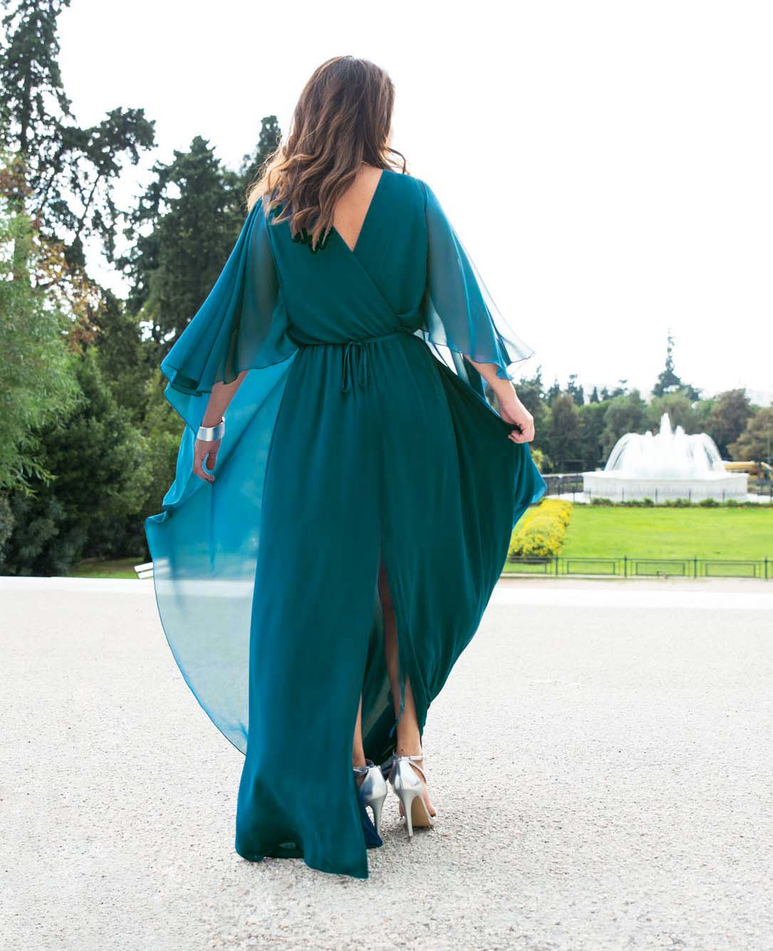 relaxed glamour smart βραδινό φόρεμα cape πετρόλ