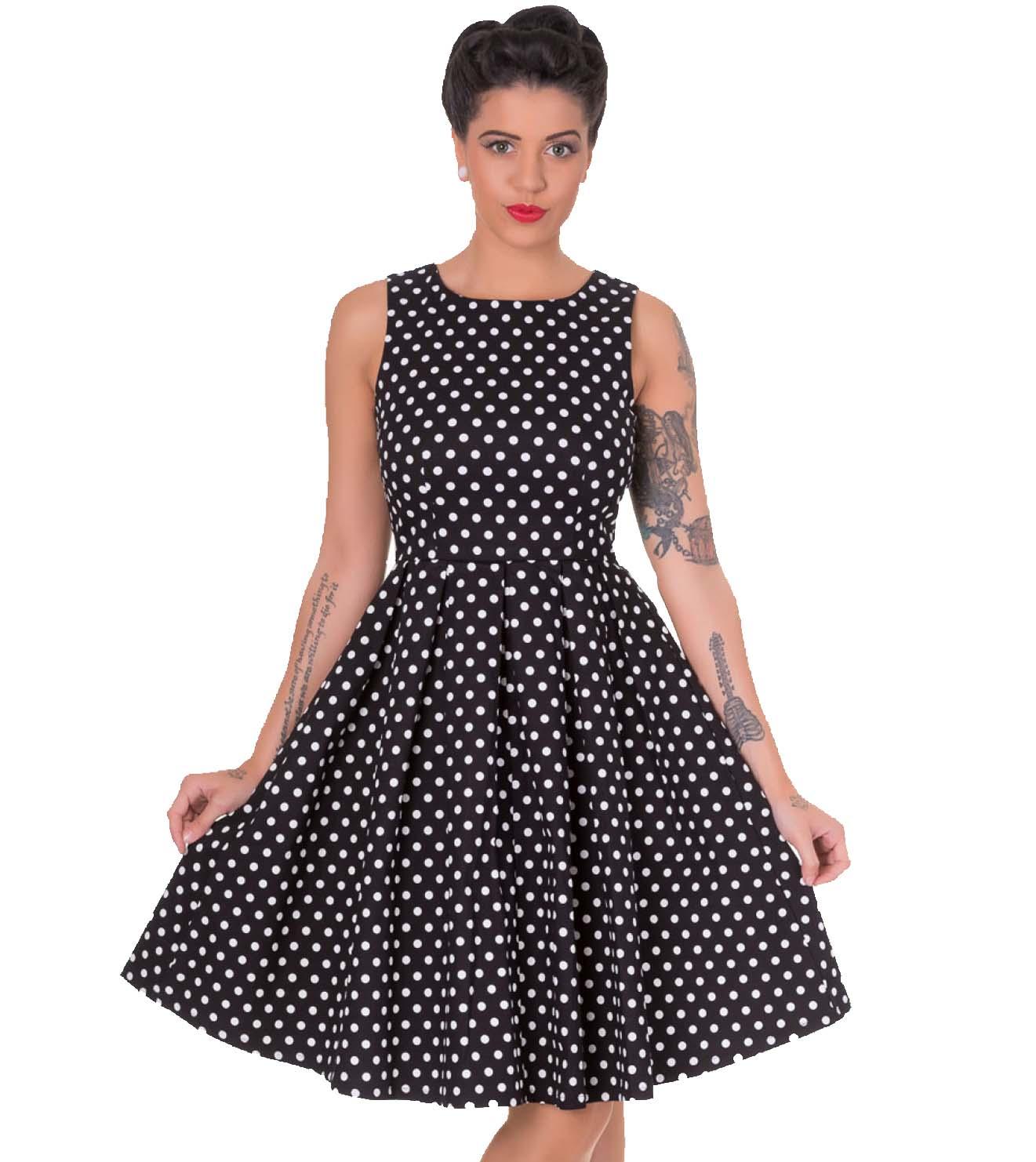 vintage pin up 50s polka dot φόρεμα Lola σε μαύρο 59a997d5783