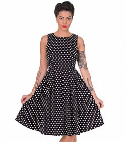 vintage pin up 50s polka dot φόρεμα Lola σε μαύρο