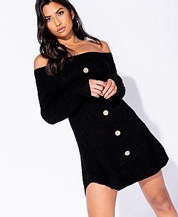 9c69b6de1dee ... cosy off shoulder πλεκτό φόρεμα Payton σε μαύρο