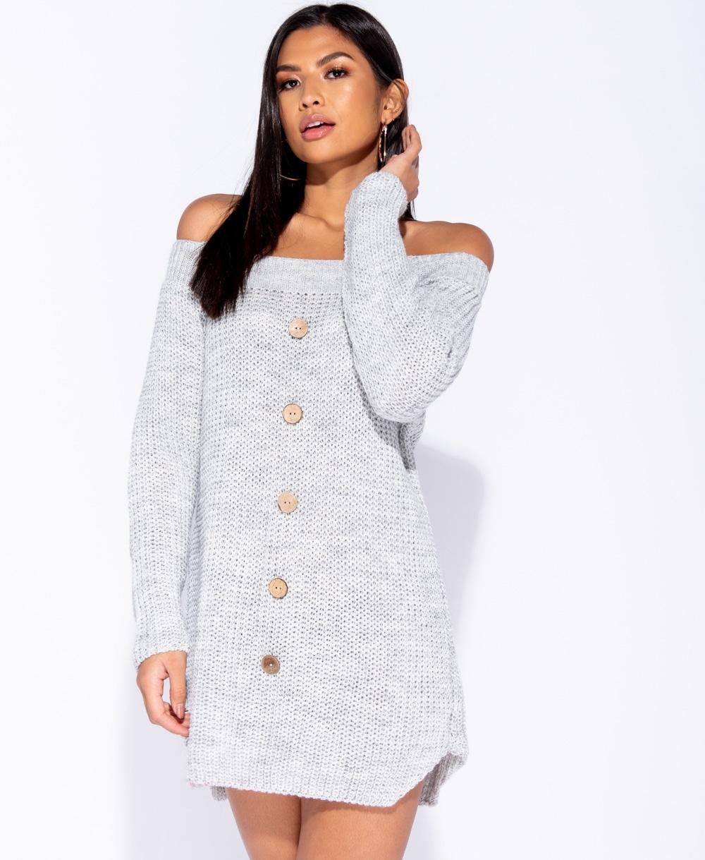 c9b85c1a060 cosy off shoulder πλεκτό φόρεμα Payton σε γκρι