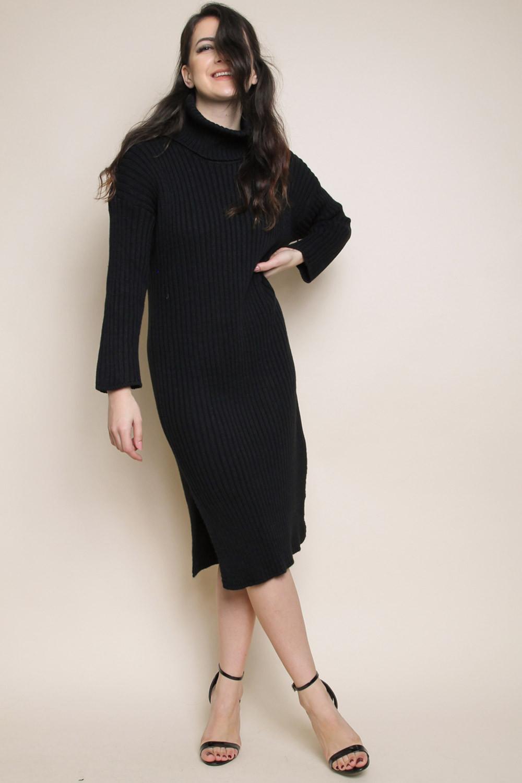 18ee0b44d2ac winter essential μαύρο πλεκτό φόρεμα