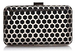 edgy metal cell clutch σε μαύρο silver