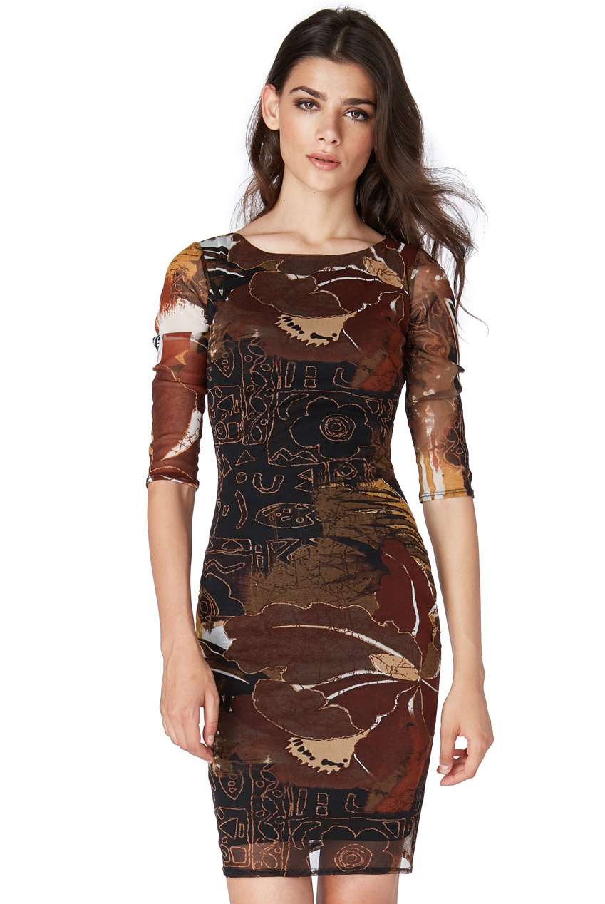 earth toned φόρεμα bodycon tulle