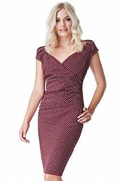 dfde9cc1eb6e ... chic polka dot φόρεμα σε cherry μπορντώ