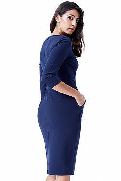 business φόρεμα metallic V σε μπλε navy ... fe794e1107a