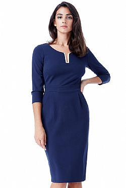 ... business φόρεμα metallic V σε μπλε navy 8394410bdb5