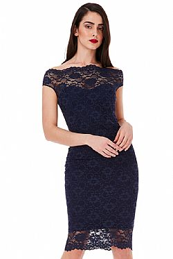 49b82a1c4e0c cocktail φόρεμα bardot fine navy lace cocktail φόρεμα bardot fine navy lace