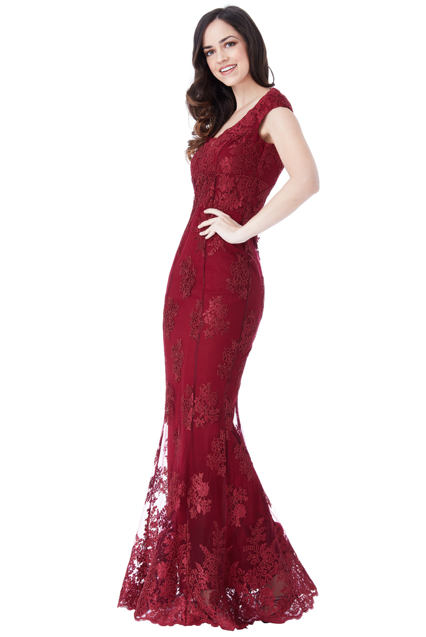 romantic luxe βραδινό φόρεμα fine δαντέλα σε μπορντώ wine c6f3560edd1