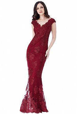 ca327438dda7 ... romantic luxe βραδινό φόρεμα fine δαντέλα σε μπορντώ wine