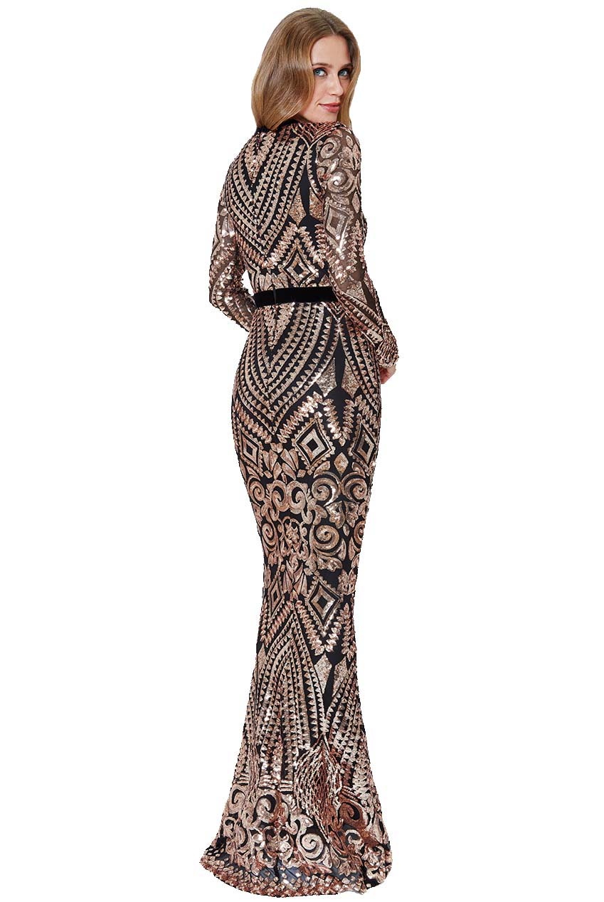 couture aztec pattern φόρεμα too glam paillette