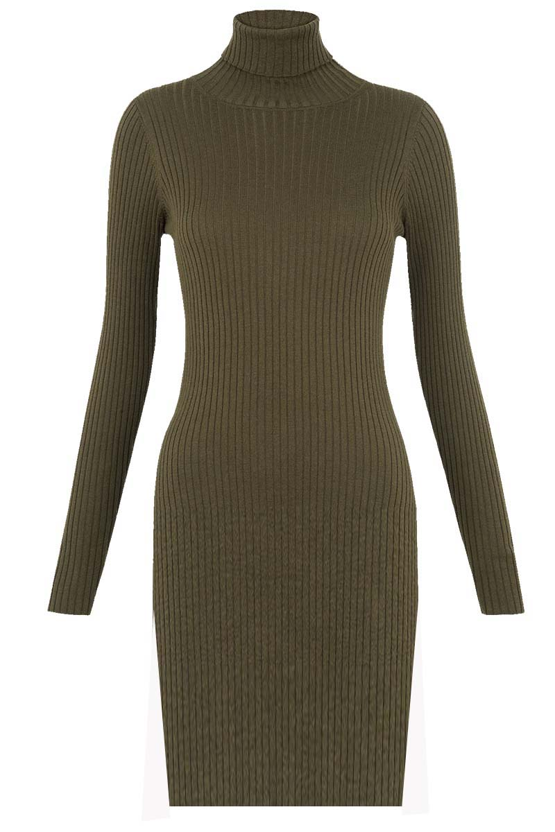 must have πλεκτό rib cotton φόρεμα Celeste σε χακί bedc73f0b53
