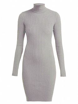 a3d1db09e299 ... must have πλεκτό rib cotton φόρεμα Celeste σε melange γκρι