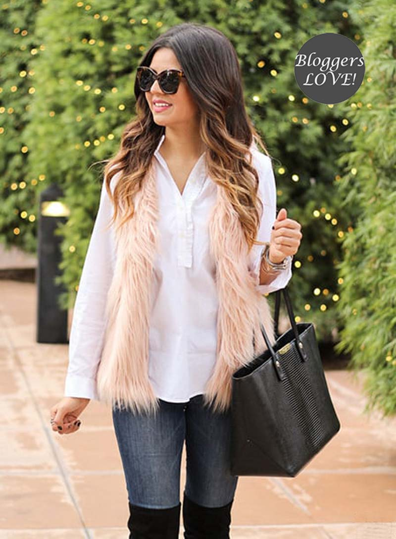 blogger faux fur γιλέκο Kelly light salmon