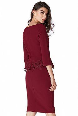 c6c8e3b470d3 feminine peplum lace φόρεμα Sue wine ...