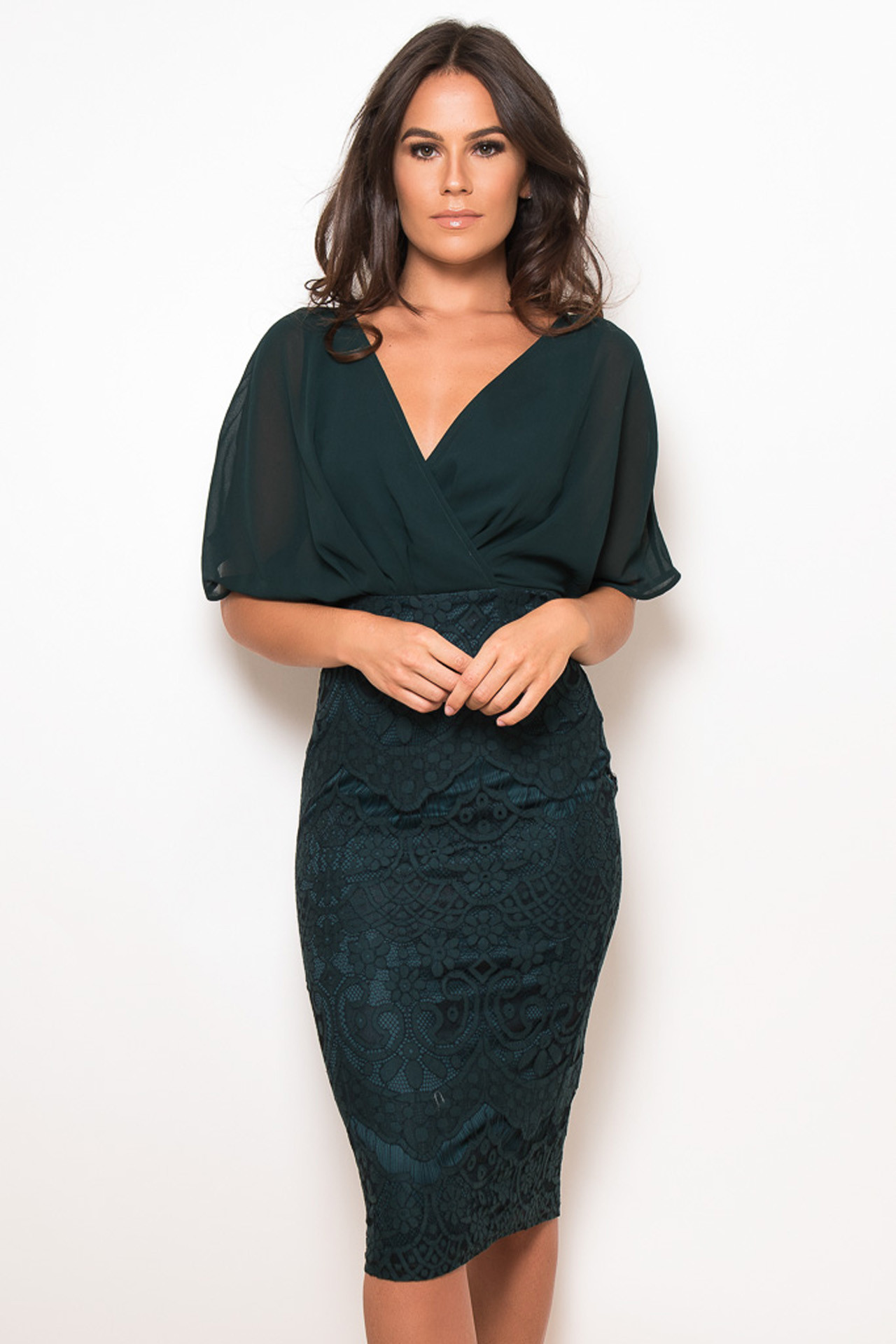 5e4f0b64cfb7 Perfectdress cocktail chic φόρεμα midi chiffon δαντέλα Joanna forest green