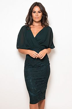 2bc2eff65894 ... cocktail chic φόρεμα midi chiffon δαντέλα Joanna forest green