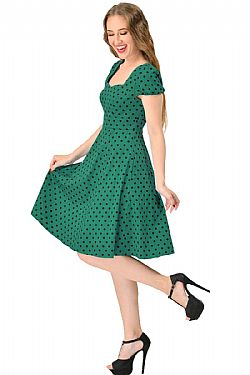 vintage φόρεμα green polka dot Claudia
