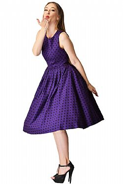 246a6389d8fc vintage pin up φόρεμα Lolita purple πουά ...