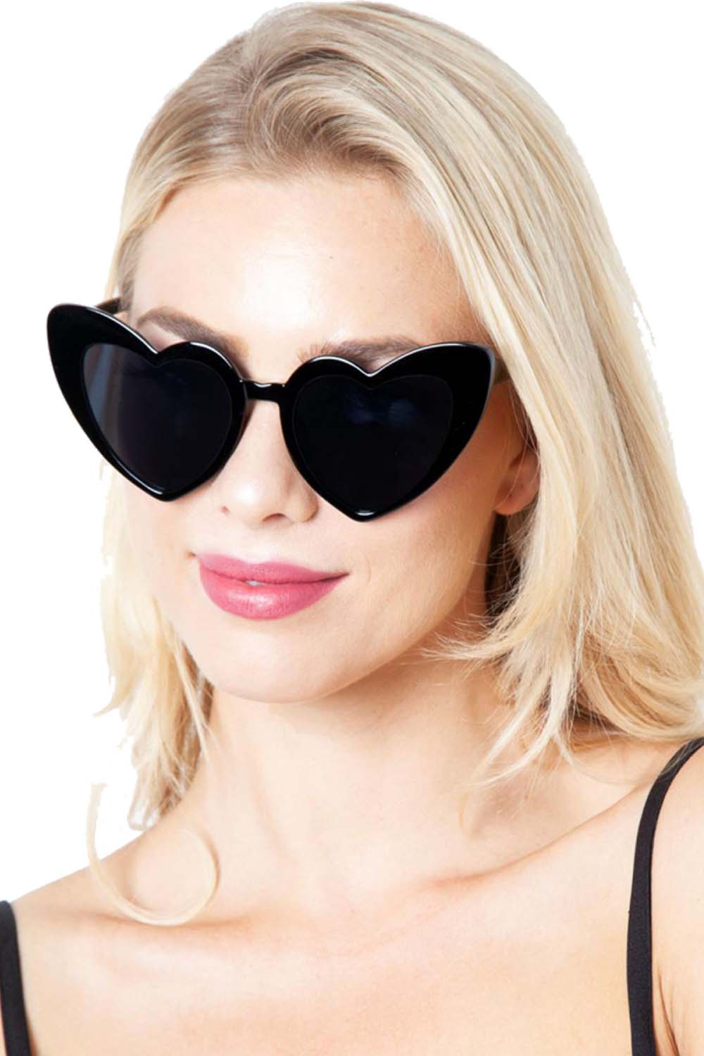 pin up 50s black heart shades